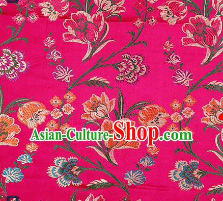 Traditional Chinese Rosy Brocade Drapery Classical Tulipa Pattern Design Satin Cheongsam Silk Fabric Material