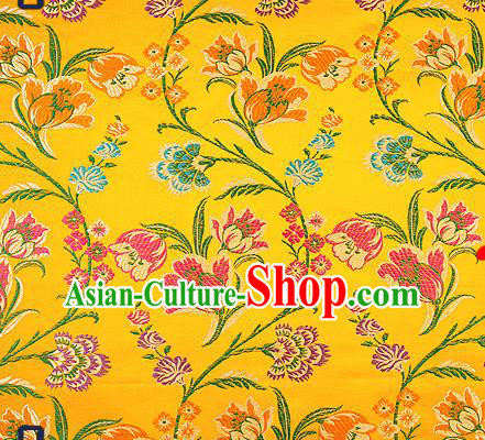 Traditional Chinese Yellow Brocade Drapery Classical Tulipa Pattern Design Satin Cheongsam Silk Fabric Material