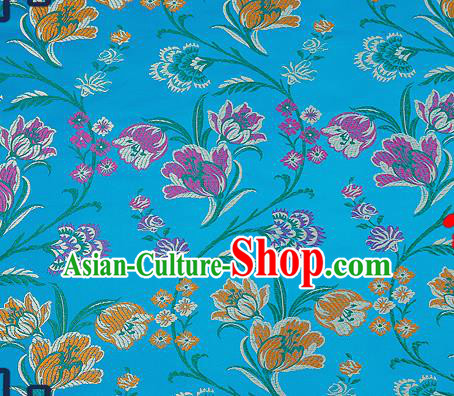Traditional Chinese Blue Brocade Drapery Classical Tulipa Pattern Design Satin Cheongsam Silk Fabric Material