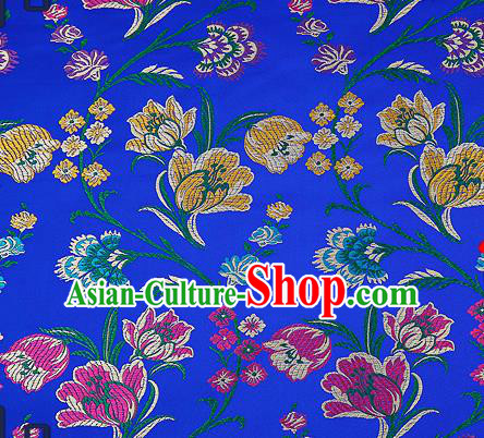 Traditional Chinese Royalblue Brocade Drapery Classical Tulipa Pattern Design Satin Cheongsam Silk Fabric Material