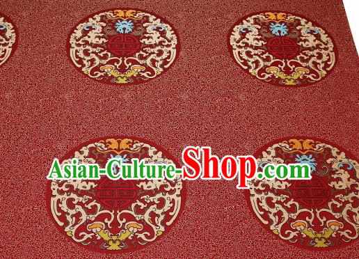 Traditional Chinese Red Brocade Drapery Classical Kui Dragon Pattern Design Satin Table Flag Silk Fabric Material