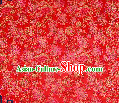 Traditional Chinese Red Brocade Drapery Classical Fireworks Pattern Design Satin Table Flag Silk Fabric Material