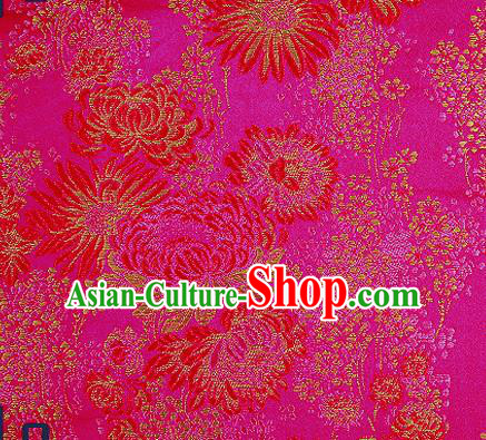 Traditional Chinese Rosy Brocade Drapery Classical Fireworks Pattern Design Satin Table Flag Silk Fabric Material