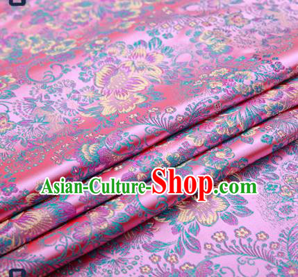 Chinese Traditional Pink Brocade Drapery Classical Peony Pattern Design Satin Tang Suit Qipao Silk Fabric Material