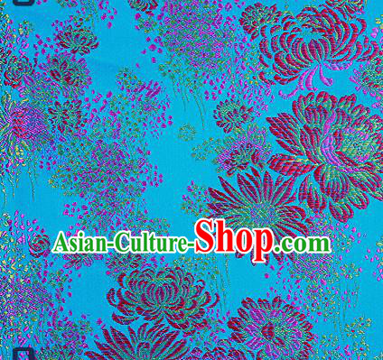 Traditional Chinese Blue Brocade Drapery Classical Fireworks Pattern Design Satin Table Flag Silk Fabric Material