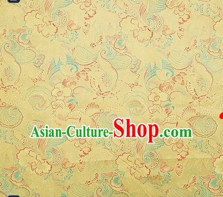 Traditional Chinese Yellow Brocade Drapery Classical Butterfly Peony Pattern Design Satin Cheongsam Silk Fabric Material