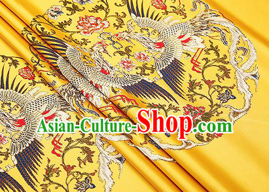 Traditional Chinese Yellow Brocade Drapery Classical Phoenix Pattern Design Satin Cushion Silk Fabric Material