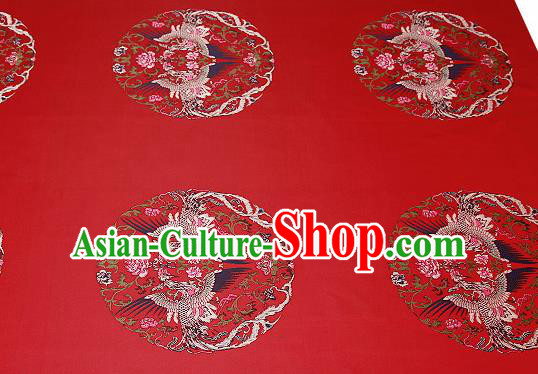 Traditional Chinese Red Brocade Drapery Classical Phoenix Pattern Design Satin Cushion Silk Fabric Material