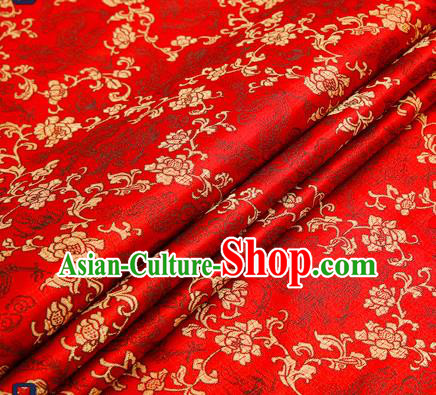 Traditional Chinese Red Satin Brocade Drapery Classical Golden Peony Pattern Design Qipao Silk Fabric Material