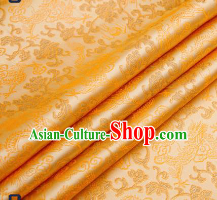 Traditional Chinese Light Golden Satin Brocade Drapery Classical Dragons Pattern Design Qipao Silk Fabric Material