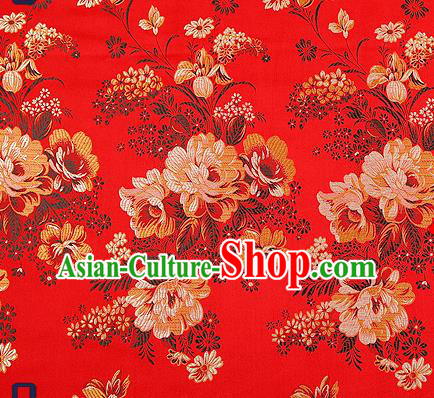 Traditional Chinese Red Satin Brocade Drapery Classical Peony Pattern Design Qipao Silk Fabric Material