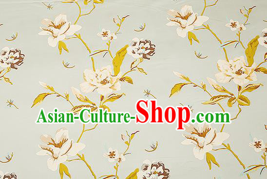 Traditional Chinese Blue Satin Brocade Drapery Classical Embroidery Peony Pattern Design Cushion Silk Fabric Material