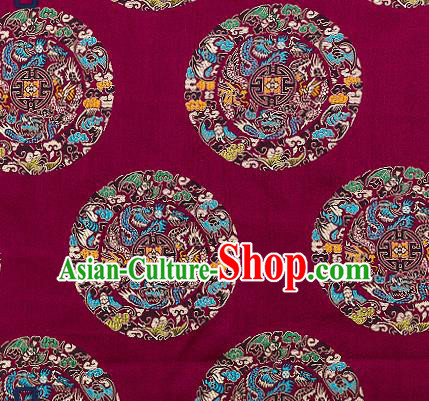 Asian Chinese Traditional Fabric Tang Suit Purple Brocade Silk Material Classical Dragons Pattern Design Satin Drapery