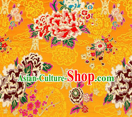 Asian Chinese Traditional Fabric Tang Suit Yellow Brocade Silk Material Classical Peony Pattern Design Satin Drapery