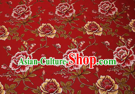 Traditional Chinese Red Satin Brocade Drapery Classical Embroidery Peony Pattern Design Cushion Silk Fabric Material