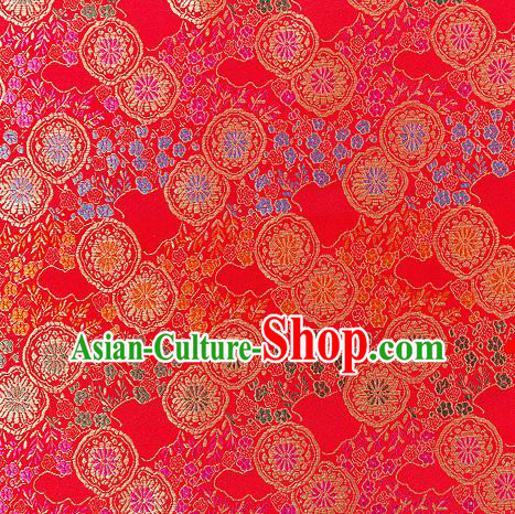 Asian Chinese Traditional Fabric Red Brocade Silk Material Classical Pattern Design Satin Drapery