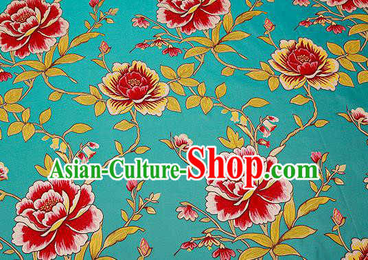 Traditional Chinese Green Satin Brocade Drapery Classical Embroidery Peony Pattern Design Cushion Silk Fabric Material
