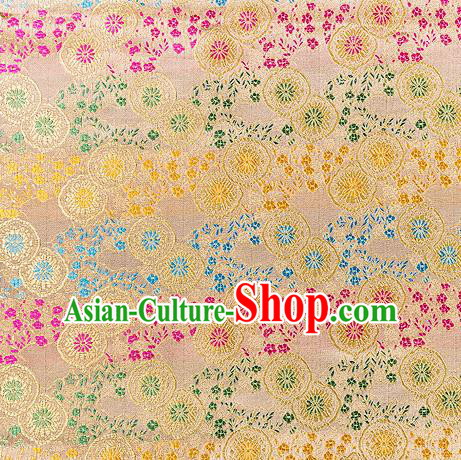 Asian Chinese Traditional Fabric Golden Brocade Silk Material Classical Pattern Design Satin Drapery