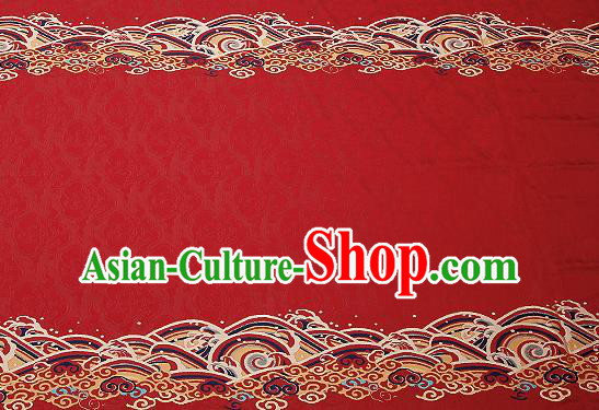 Traditional Chinese Red Satin Brocade Drapery Classical Embroidery Clouds Pattern Design Cushion Silk Fabric Material
