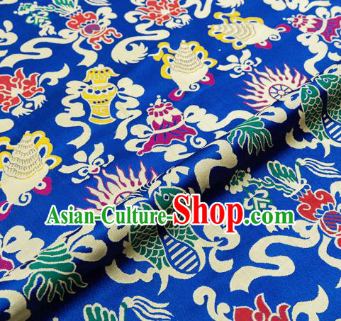 Traditional Chinese Royalblue Nanjing Brocade Drapery Classical Fishes Pattern Design Satin Qipao Dress Silk Fabric Material