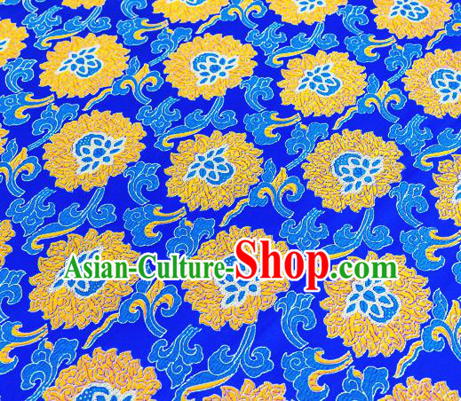 Traditional Chinese Blue Brocade Drapery Classical Lotus Pattern Design Satin Tang Suit Silk Fabric Material