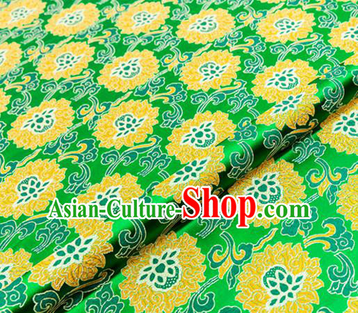 Traditional Chinese Green Brocade Drapery Classical Lotus Pattern Design Satin Tang Suit Silk Fabric Material