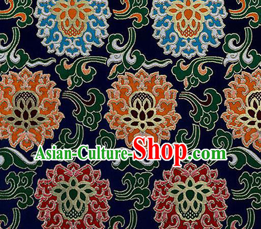 Traditional Chinese Tang Suit Silk Fabric Navy Nanjing Brocade Material Classical Lotus Pattern Design Satin Drapery