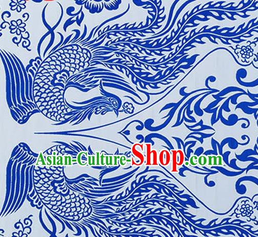 Chinese Traditional Cheongsam Blue Nanjing Brocade Material Silk Fabric Classical Phoenix Pattern Design Satin Drapery