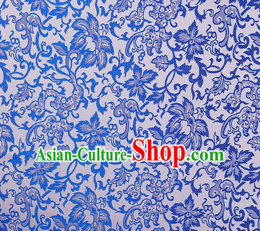 Chinese Traditional Cheongsam Blue Nanjing Brocade Material Silk Fabric Classical Pattern Design Satin Drapery