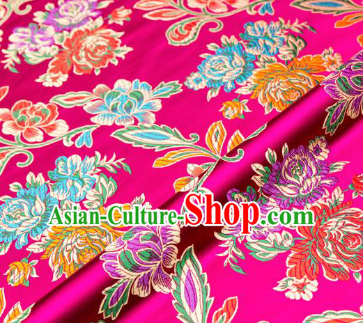 Traditional Chinese Tang Suit Silk Fabric Rosy Brocade Material Classical Peony Pattern Design Satin Drapery