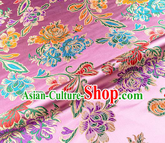 Traditional Chinese Tang Suit Silk Fabric Pink Brocade Material Classical Peony Pattern Design Satin Drapery