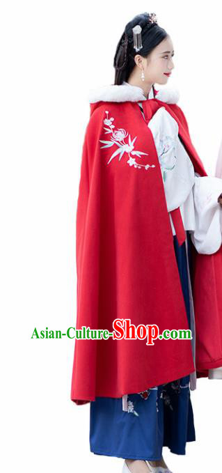 Chinese Ancient Ming Dynasty Princess Costume Embroidered Red Woolen Cloak for Women