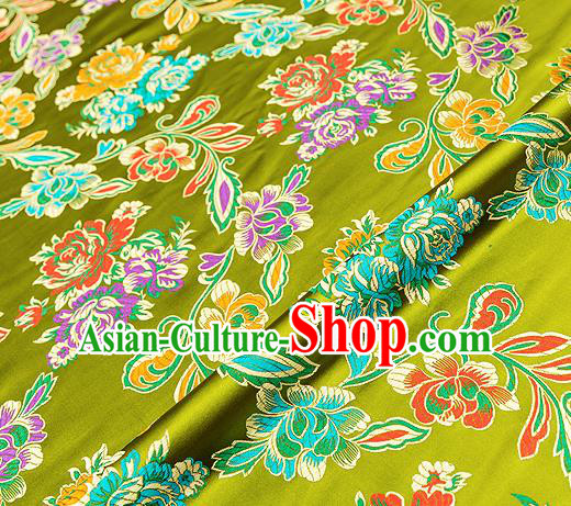 Traditional Chinese Tang Suit Silk Fabric Olive Green Brocade Material Classical Peony Pattern Design Satin Drapery