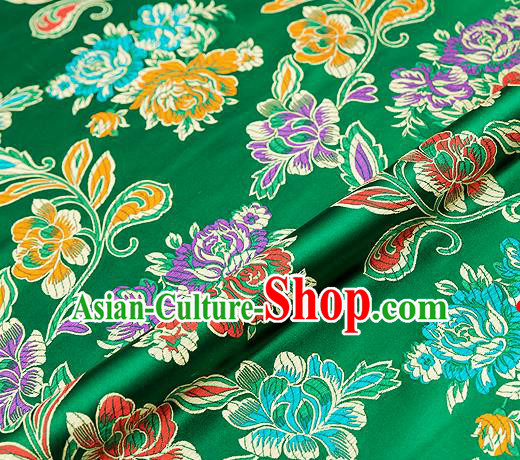 Traditional Chinese Tang Suit Silk Fabric Green Brocade Material Classical Peony Pattern Design Satin Drapery