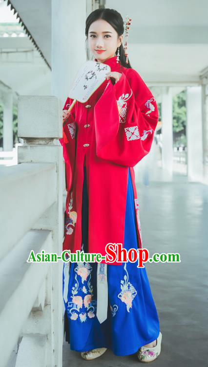 Chinese Ancient Ming Dynasty Princess Costumes Embroidered Red Hanfu Dress for Rich Women