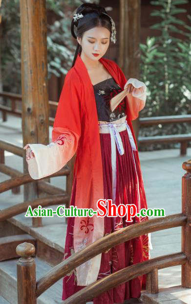Chinese Ancient Tang Dynasty Princess Embroidered Costumes Palace Lady Hanfu Dress for Rich Women