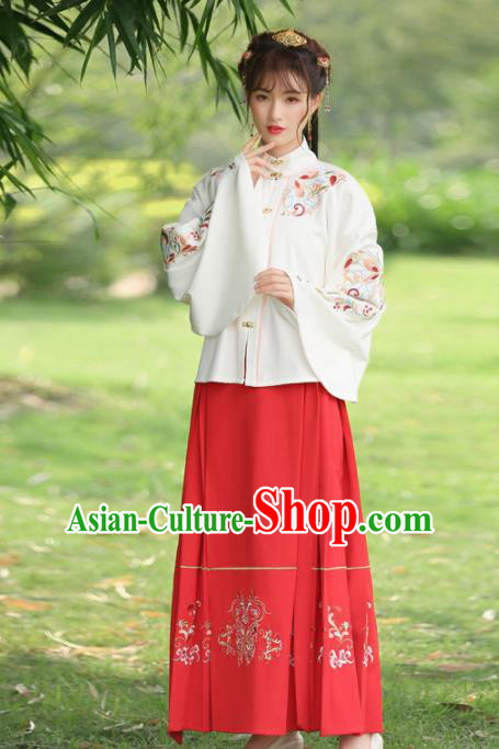 Chinese Ancient Hanfu Dress Ming Dynasty Princess Embroidered Costumes for Rich Women
