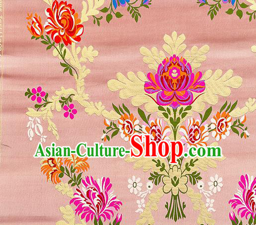 Asian Chinese Traditional Satin Fabric Tang Suit Pink Brocade Silk Material Classical Peony Pattern Design Drapery