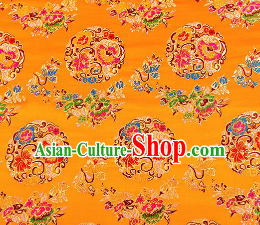 Asian Chinese Traditional Satin Fabric Tang Suit Golden Brocade Silk Material Classical Peony Pattern Design Drapery