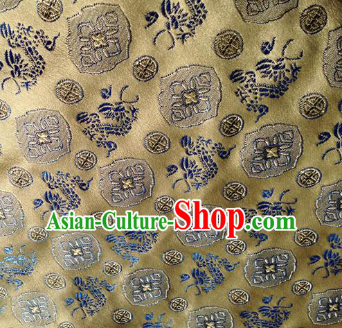 Asian Chinese Traditional Fabric Bronze Satin Brocade Silk Material Classical Dragons Pattern Design Satin Drapery