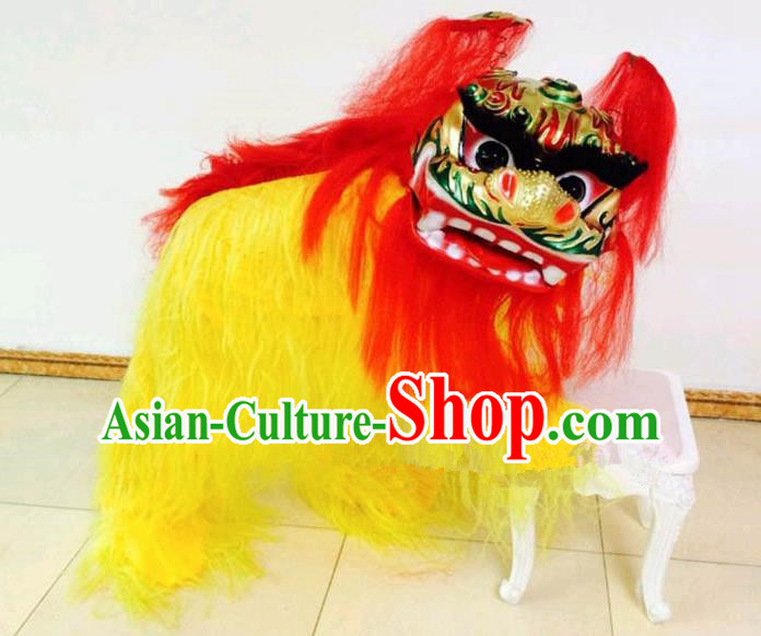 Chinese Traditional Lion Dance Yellow Fur Costumes Spring Festival Lion Dance Props for Kids