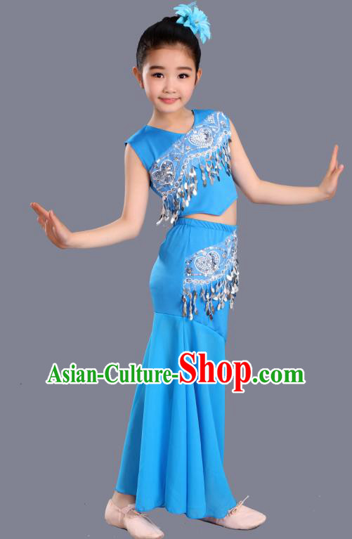 Chinese Traditional Ethnic Costumes Dai Nationality Folk Dance Pavane Blue Dress for Kids