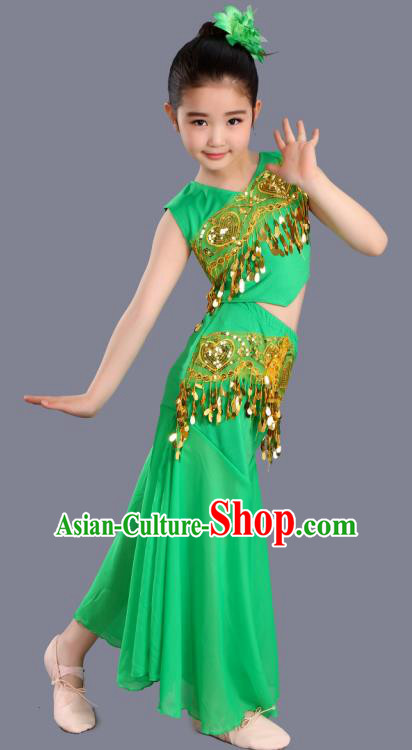 Chinese Traditional Ethnic Costumes Dai Nationality Folk Dance Pavane Green Dress for Kids