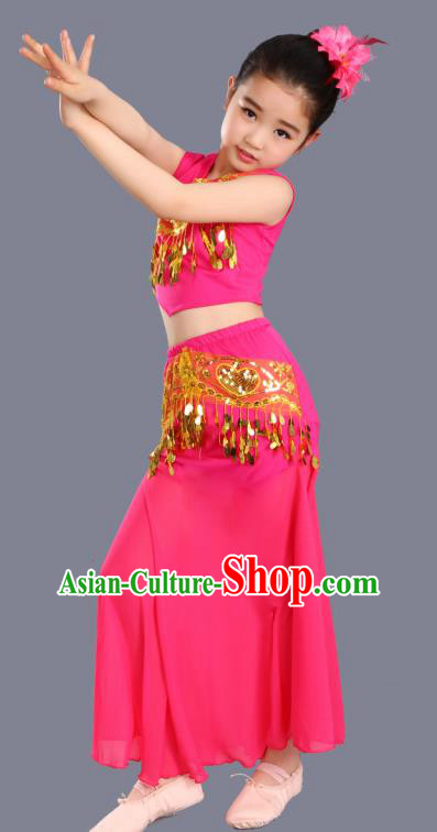 Chinese Traditional Ethnic Costumes Dai Nationality Folk Dance Pavane Rosy Dress for Kids