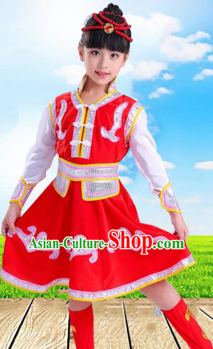 Chinese Traditional Ethnic Costumes Mongolian Nationality Folk Dance Dress for Kids