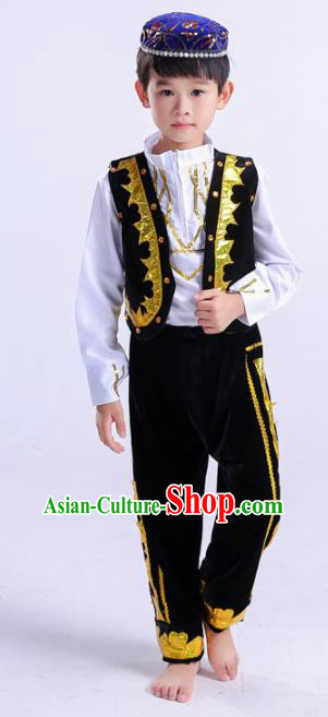 Chinese Traditional Uigurian Ethnic Costumes Uyghur Nationality Boy Folk Dance Black Clothing for Kids