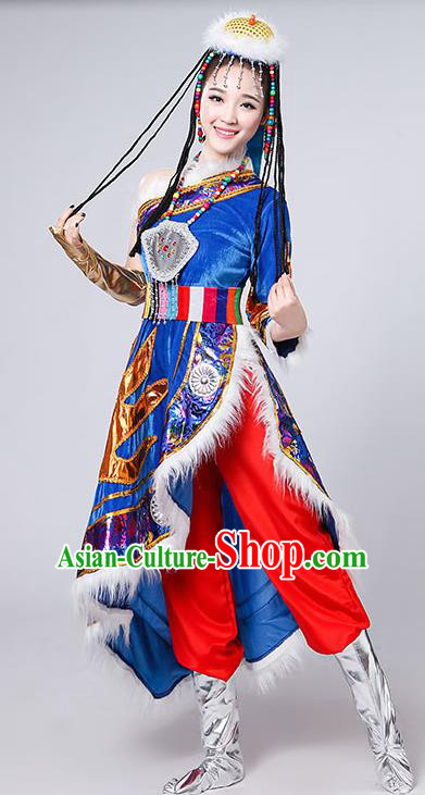 Chinese Traditional Tibetan Ethnic Costumes Zang Nationality Folk Dance Royalblue Dress for Women