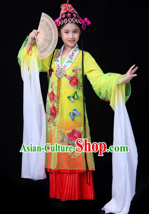 Chinese Traditional Classical Dance Costumes Beijing Opera Folk Dance Yellow Dress for Kids