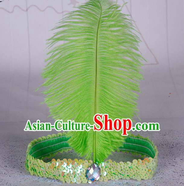 Top Grade Catwalks Headwear Halloween Cosplay Hair Accessories Green Feather Hair Clasp