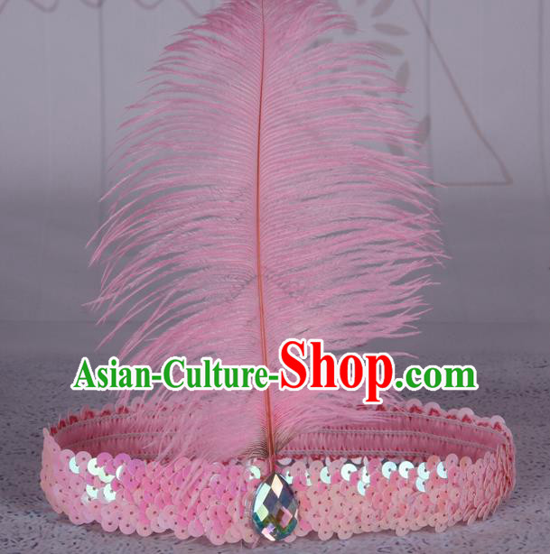 Top Grade Catwalks Headwear Halloween Cosplay Hair Accessories Pink Feather Hair Clasp